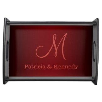 Wedding Monogram Serving Tray:Burgundy Red