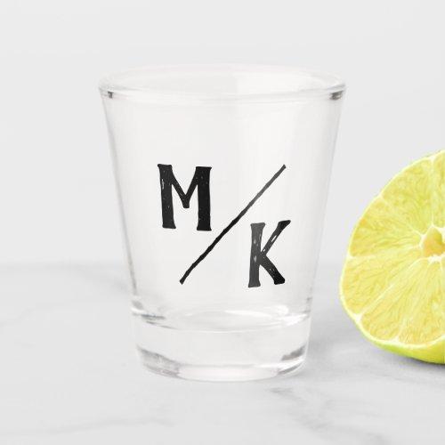 Wedding Monogram Simple Black Slash Mod Typography Shot Glass