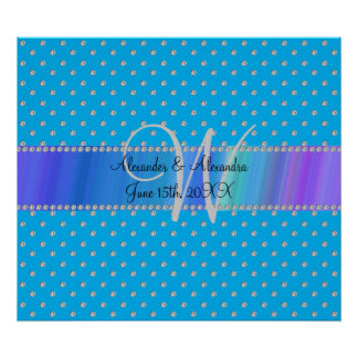 Wedding monogram sky blue diamonds posters
