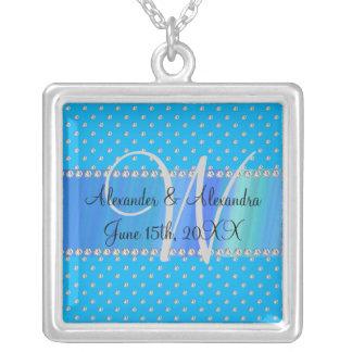 Wedding monogram sky blue diamonds square pendant necklace