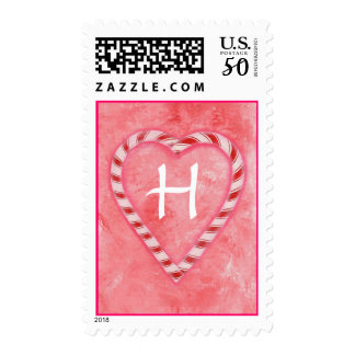 Wedding monogram stamps, Frosty Candy Cane Heart Postage