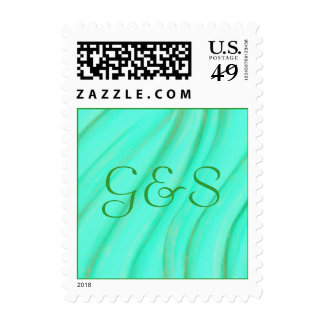 Wedding Monogram Stamps, Green and Gold Blends Postage