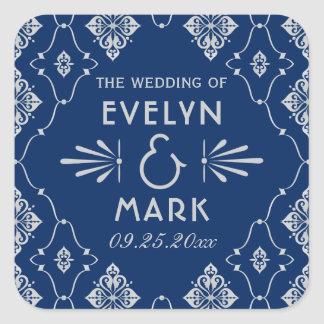 Wedding Monogram Stickers | Navy Art Deco