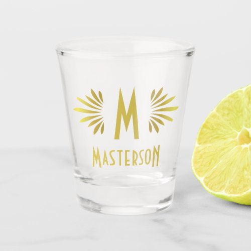 Wedding Monogram Surname Art Deco Gold Flourish Shot Glass