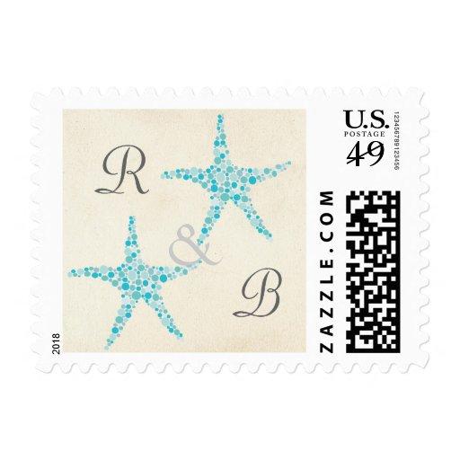 Wedding Monogram Turquoise Aqua Starfish Stamp