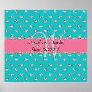 Wedding monogram turquoise diamonds hearts poster