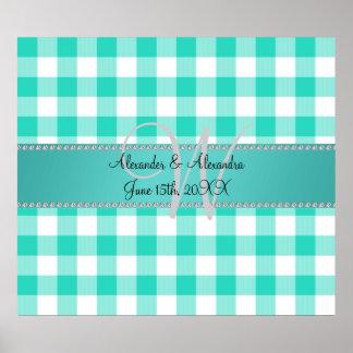 Wedding monogram turquoise gingham checkers poster