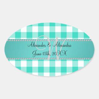 Wedding monogram turquoise gingham checkers stickers