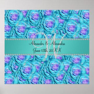 Wedding monogram turquoise roses print