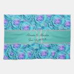 Wedding monogram turquoise roses towels