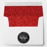 Wedding Monogram With Ruby Red Glitter Pattern Envelope
