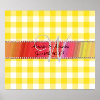 Wedding monogram yellow gingham checkers print