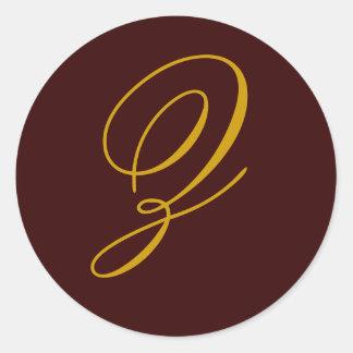 Wedding Monogram Z Gold Seal Sticker
