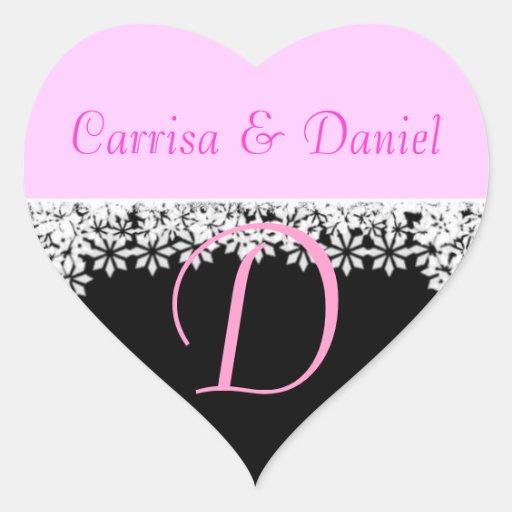 Wedding Monogrammed Sticker Letter D