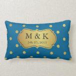 Wedding Monogrammed - Stylish Gold Polka Dots Pillows
