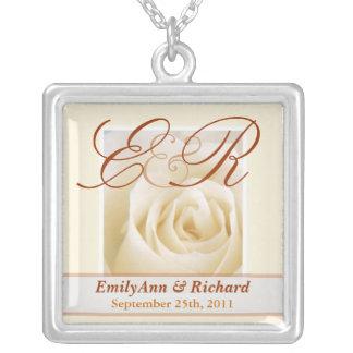 Wedding Monograms - Antique Ivory Rose Pendant