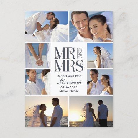 Wedding Montage Wedding Announcement - White