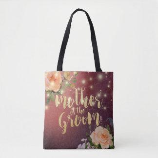 Wedding Mother of the Groom Floral String Lights Tote Bag
