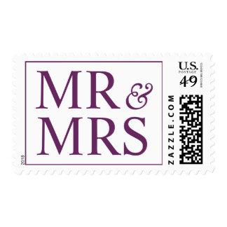 Wedding Mr and Mrs Creative Palatinate Purple Postage Stamp