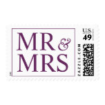 Wedding Mr and Mrs Creative Palatinate Purple Stamps