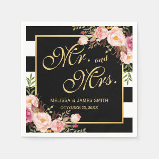 Wedding Mr. And Mrs. Floral Gold Frame Stripes Paper Napkin at Zazzle
