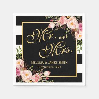 Wedding Mr. and Mrs. Floral Gold Frame Stripes Paper Napkin