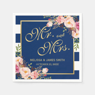 Wedding Mr. And Mrs. Floral Gold Navy Blue Stripes Paper Napkin at Zazzle