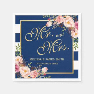 Wedding Mr. and Mrs. Floral Gold Navy Blue Stripes Paper Napkin