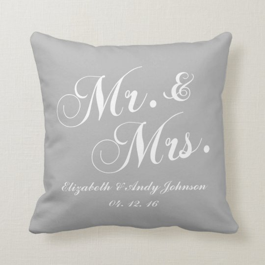 Wedding Mr And Mrs Gray White Throw Pillow Zazzle Com