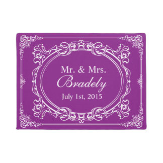 Wedding Mr. and Mrs. Vintage Orchid Purple Frame Doormat