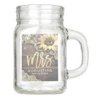 Wedding Mrs Bride Lace Sunflower Rustic Wood Light Mason Jar