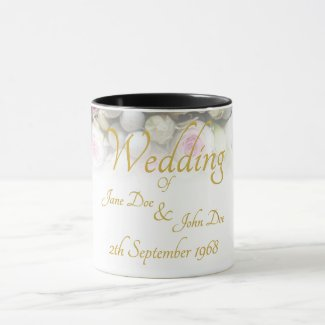 Wedding Mug - Bride with colorful wedding bouquet