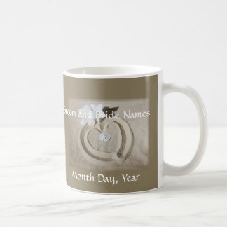 Wedding Mugs - Heart in Sand to Personalize