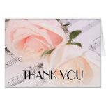 Wedding Music Light Pink Roses Thank you card Greeting Card