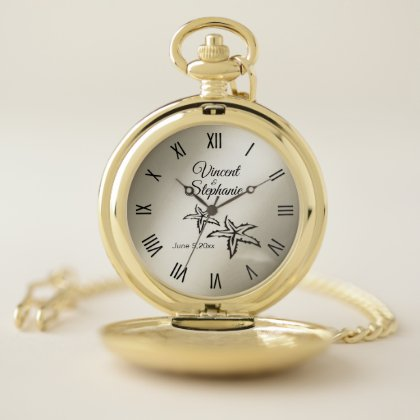 Wedding Name & Date Gold Face with Roman Numerals Pocket Watch