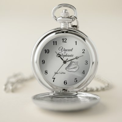 Wedding Name & Date Silver Face Pocket Watch