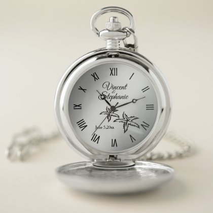 Wedding Name & Date Silver Face w Roman Numerals Pocket Watch