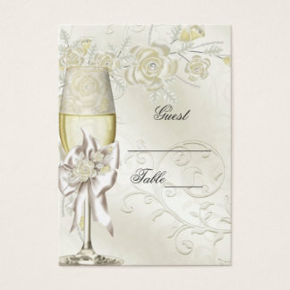 Wedding Name Place Cards Gold Cream Pearl Floral