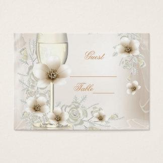 Wedding Name Place Cards Sepia Cream Rose Blossom