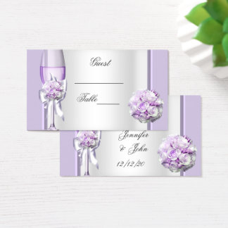 Wedding Name Place Lavender Purple Lilac 3 Business Card