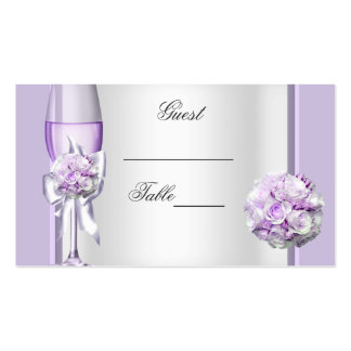Wedding Name Place Lavender Purple Lilac 3 Double-Sided Standard Business Cards (Pack Of 100)