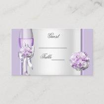 Wedding Name Place Lavender Purple Lilac 3 Place Card