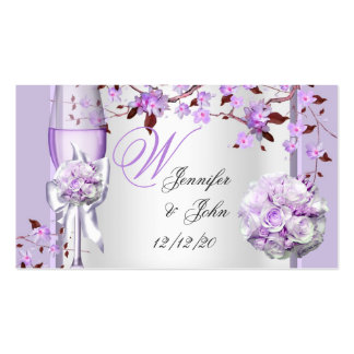 Wedding Name Place Lavender Purple Lilac 4 Double-Sided Standard Business Cards (Pack Of 100)