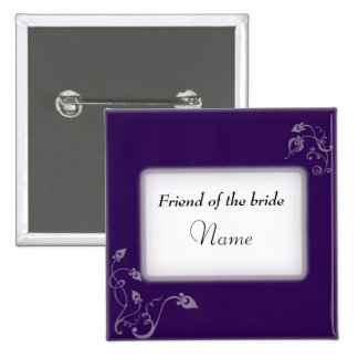 Wedding name tag 2 inch square button