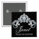 Wedding Name Tag Button Elegant Black Silver