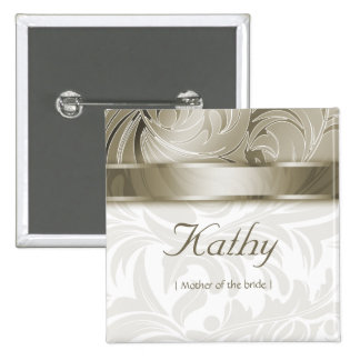 Wedding Name Tag Button Leaf Floral Gold Taupe
