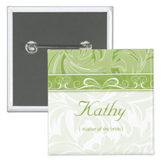 Wedding Name Tag Button Leaf Floral Lime Green