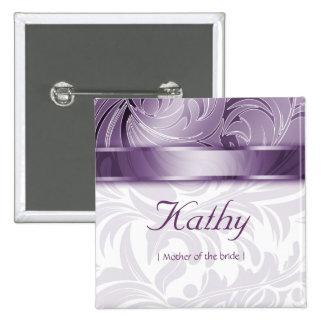 Wedding Name Tag Button Leaf Floral Purple Silver