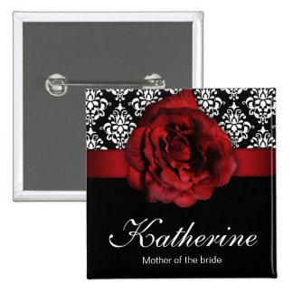 Wedding Name Tag Button Red Rose Damask