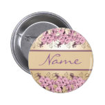 Wedding name tags - customizable pink orchids button